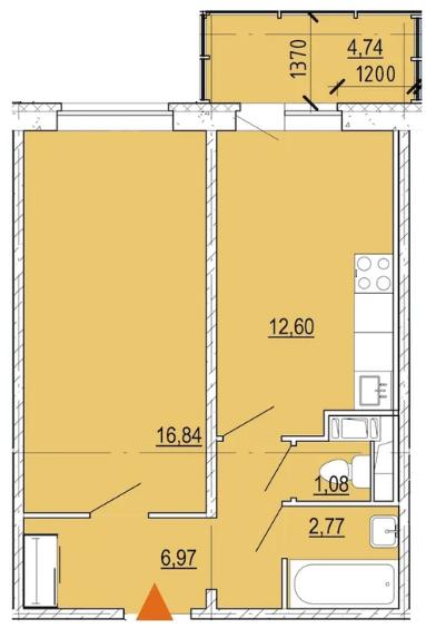 Планировка Однокомнатная квартира площадью 41.7 кв.м в ЖК «