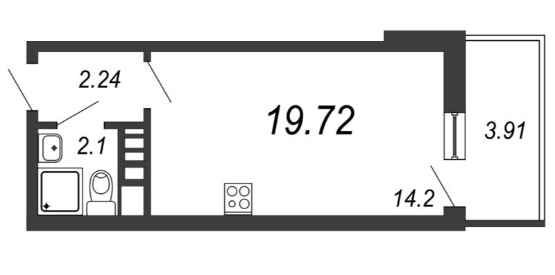 Планировка Студия площадью 19.72 кв.м в ЖК «Барская усадьба»