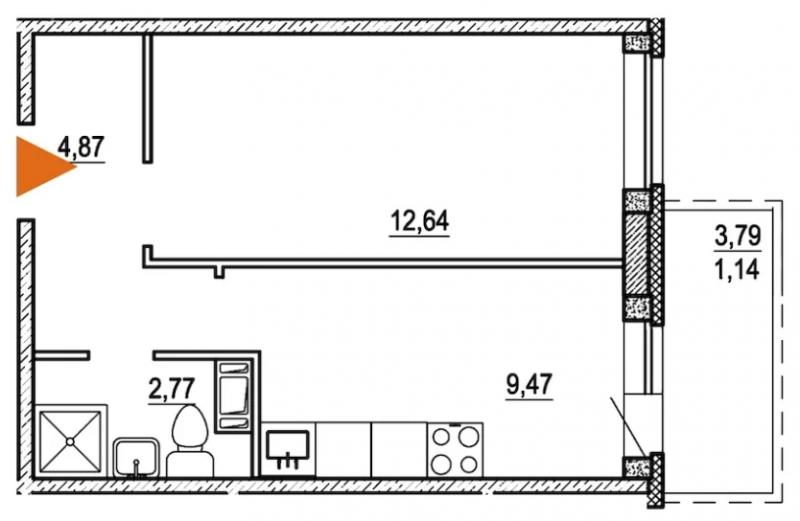 Планировка Однокомнатная квартира площадью 30.6 кв.м в ЖК «