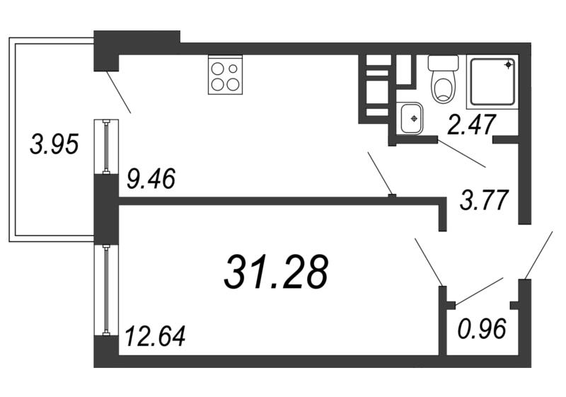 Планировка Однокомнатная квартира площадью 31.28 кв.м в ЖК «Барская усадьба»