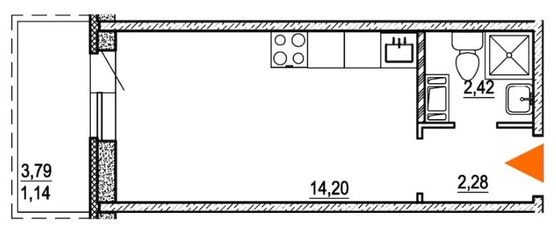 Планировка Студия площадью 19.8 кв.м в ЖК «