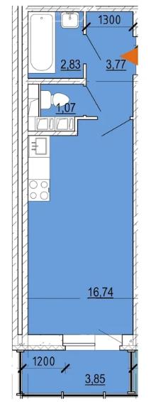 Планировка Студия площадью 25.6 кв.м в ЖК «