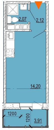 Планировка Студия площадью 19.6 кв.м в ЖК «