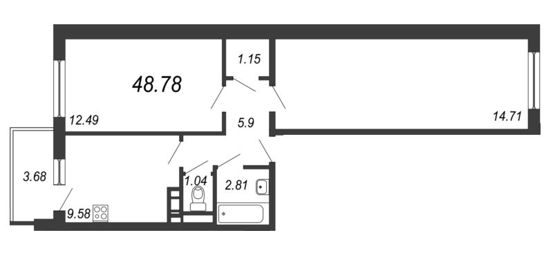 Планировка Двухкомнатная квартира площадью 48.78 кв.м в ЖК «Барская усадьба»