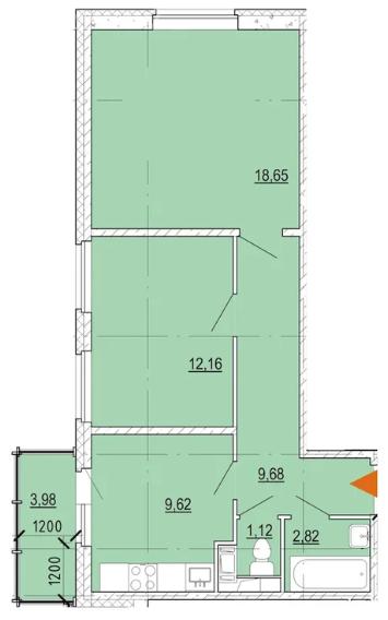 Планировка Двухкомнатная квартира площадью 55.2 кв.м в ЖК «