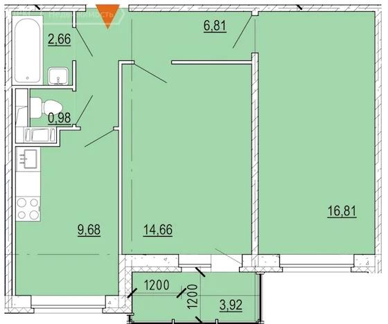 Планировка Двухкомнатная квартира площадью 53.6 кв.м в ЖК «