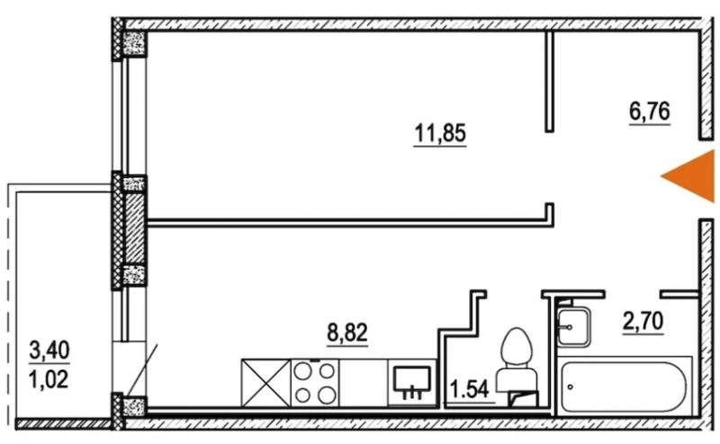 Планировка Однокомнатная квартира площадью 32.3 кв.м в ЖК «