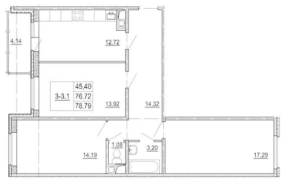 Планировка Трёхкомнатная квартира площадью 78.8 кв.м в ЖК «