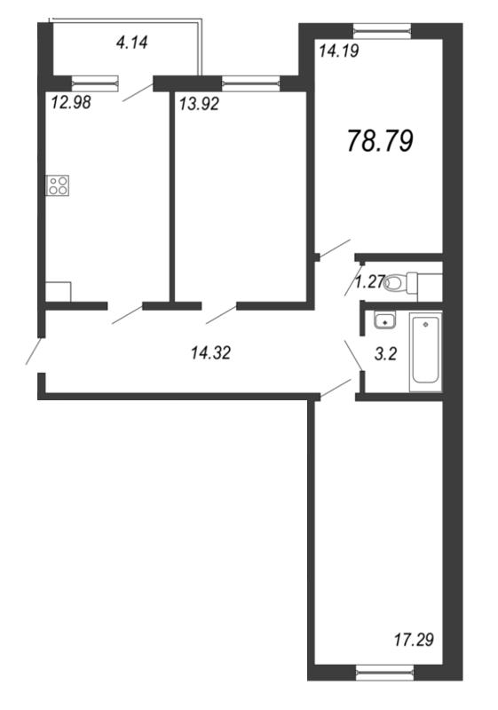 Планировка Трёхкомнатная квартира площадью 78.79 кв.м в ЖК «Барская усадьба»