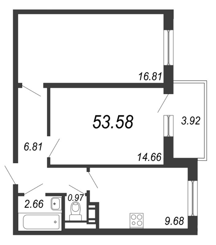 Планировка Двухкомнатная квартира площадью 53.58 кв.м в ЖК «Барская усадьба»