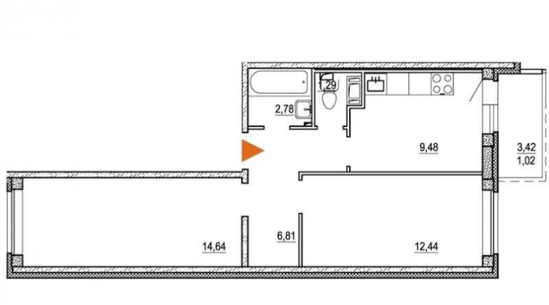 Планировка Двухкомнатная квартира площадью 48.8 кв.м в ЖК «