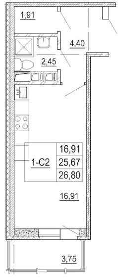 Планировка Студия площадью 26.8 кв.м в ЖК «