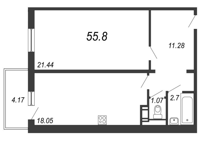 Планировка Двухкомнатная квартира (Евро) площадью 55.8 кв.м в ЖК «Барская усадьба»
