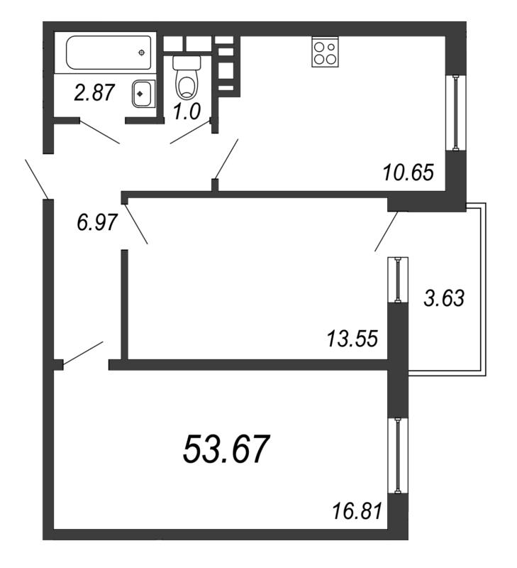 Планировка Двухкомнатная квартира площадью 53.67 кв.м в ЖК «Барская усадьба»